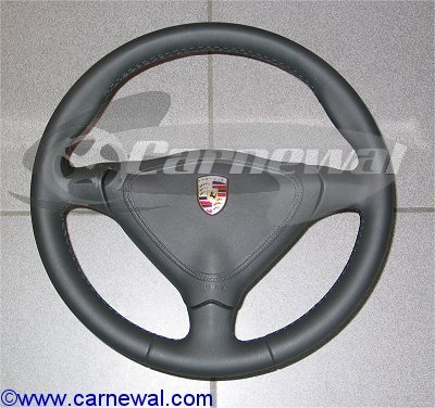 Leather 3 Spoke Steering Wheel with Leather Airbag - Manual